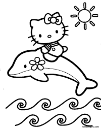 Coloring Pages Printable Hello Kitty Color To Print Out Design Sketch Dolphin Sun Flower Wave