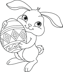 Bunny Holiding Large Easter Egg Coloring Page