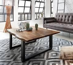 couchtisch baumkante 120 x 80 cm akazie nussbaumfarben schwarz