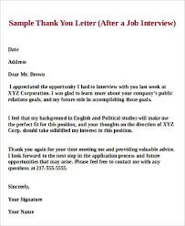 Sample Thank You Letter 17 Best Ideas About Thank You Interview