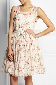 red valentino floral print silk chiffon dress in white lyst
