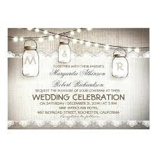 Mason Jar Lights Burlap Lace Rustic Wedding Card Invitation Sets Country Vintage