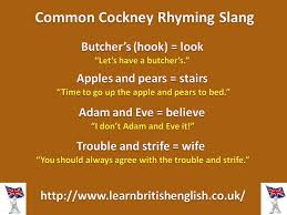Learn British English Cockney Rhyming Slang Visual