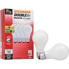 sylvania 72w halogen light bulbs soft white 4 pack