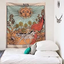 vintage sun tapestry spiritual bohemian nordic witchcraft astrology tapestry tarot flag wohnzimmer deko home decor de50gt