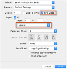 Select Two Sided And Layout In The Print Window