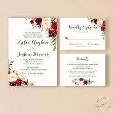 Bohemian Wedding Invitation Suite Fall Winter Invite Set Marsala Burgundy Peach Blush Rustic Boho Chic Kylie