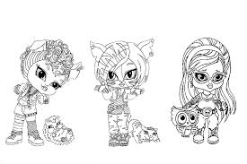 Coloring Pages Monster High Girls And Their Pets