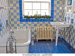 altes badezimmer vintage badezimmer mit blauen fliesen