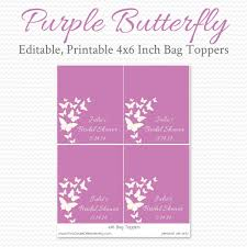 Purple Butterfly Birthday Party Favors Treat Bag Toppers Etsy