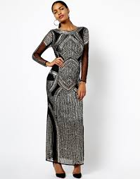 asos river island long sleeve embellished maxi in black lyst