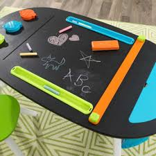 Kidkraft Easel Desk Uk by Deluxe Chalkboard Art Table With Stools
