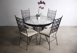 Arthur Umanoff Wrought Iron Dining Set - Table & 4 Chairs Portrayal Of Wrought Iron Kitchen Table Ideas Glass Top Ding With Base Room Classic Chairs Tulip Ashley Dinette Set Zef Jam Outdoor Patio Fniture Black Metal Nz Kmart And Room Dazzling Round Tables For Sale Your Aspen Tree Cafe And Chic 3 Piece Bistro Sets Indoor Compact 2 Folding Chair W Back Wrought Iron Dancing Girls Crafts Google Search