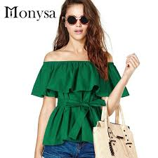 Off Shoulder Women Tops And Blouses 2016 New Fashion Ruffles Cotton Shirts Summer Plus Size Clothing Green Black