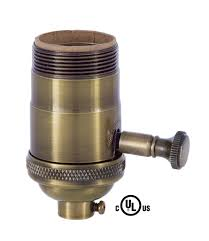 Leviton Lamp Holder 660w 600v by Edison Size Full Dimmer Socket In Antique Brass With Uno Thread