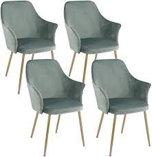 setsail 4er set samt esszimmerstühle küchenstuhl polsterstuhl wohnzimmerstuhl sessel mit armlehne sitzfläche aus samt metall gold beine grün