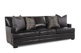 Bernhardt Foster Stationary Sofa by Nailhead Accented Leather 94