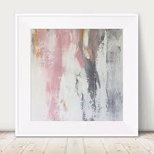 Large Pink And Grey Painting White Metallic Abstract Gold Light Metal