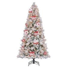 Home Heritage Hallmark 75Foot Northern Estate White Flocked PreLit Christmas Tree Clear