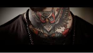Amazing Flying Owl Tattoo On Front Neck