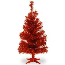 National Tree Company 3 Ft Red Tinsel Artificial Christmas