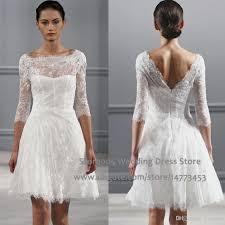 Discount Vintage White A Line Short Wedding Dresses Scoop V Back Lace Bridal Gowns With Sleeves Vestido De Novia W1889 Best Designer Classic