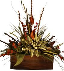 Large Rustic Floral Arrangement In Wooden Container