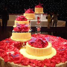 Chocolate Cake with Spiral Style 5 tier Spiral chocolate wedding cake Fresh HOT PINK roses on top of cakes White chocolate around cake