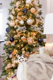A Navy And Gold Christmas Tree Adds Touch Of Understated Luxury To This Modern Farmhouse