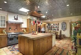 Galvanized Tin Ceiling Kitchen Southwestern With Flat Panel Cabinets Wood Island
