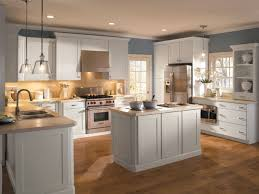 KitchenInspiring Kitchen With Country Cabinets And Small Island Monochromatic Theme Collection Of