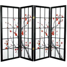Cherry Blossom Curtain Panels by Small Space Room Divider Ideas 4 Panel Shoji Folding Screen