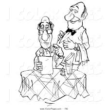 Coloring Page Of A Black And White Sketched Waiter Standing Behind Food Critic