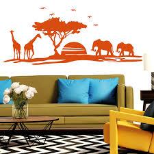 wandtattoo afrika skyline giraffe elefant wüste baum sun