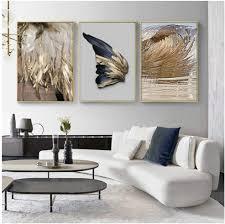 3 stücke moderne wohnzimmer dekoration gold feder abstrakte