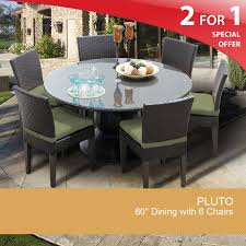 Cilantro Pluto 60 Inch Outdoor Patio Dining Table With 6 Chairs