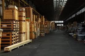 Stock Image Of Storage Hall With Wooden Crates Packed Industry Items