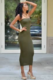 chic couture online mandi olive green strapless maxi dress