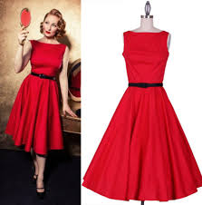 Red Dress Pin Up Audrey Hepburn Swing Rockabilly 50s Style Bridesmaid Evening Dres