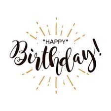 Happy Birthday Beautiful greeting card poster with calligraphy black text Word gold ribbon Hand drawn design elements Handwritten modern brush lettering