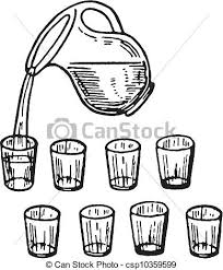 A Black And White Version A Glass Jug Pouring Water Into Glasses Stock Illustration