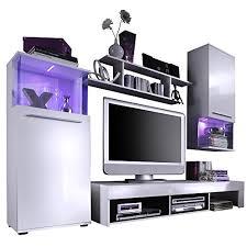 trendteam wohnzimmer anbauwand wohnwand wohnzimmerschrank punch 228 x 183 x 47 cm in korpus weiß front weiß glanz mit led farbwechselbeleuchtung