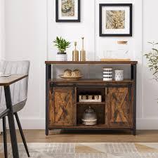 vasagle sideboard küchenschrank aufbewahrungsschrank mit 2 schiebetüren verstellbare ablage industriell vintagebraun schwarz lsc092b01