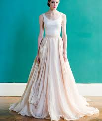 Discount White And Blush Pink Wedding Dress Simple Vintage Style Scoop Draped Backless Peach Colored Bridal Dresses 2016 Country Rustic Design Gowns