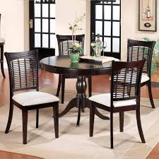 Simple Dining Room Design With Bayberry Wood Round Table Dark Cherry Finish
