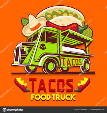 Food Truck Taco Mexican Fast Delivery Service Vector Logo — Stock ...