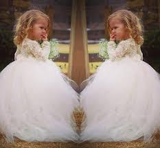 2015 long sleeve lace sweet flower dress for weddings vintage
