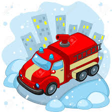 100 Fire Truck Cartoon A Is Driving Along The Road In Winter Royalty