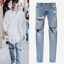 Fear Of God Pants Men Kanye West Destroyed Streetwear Shabby Hole Skinny Slim Fit Justin Bieber
