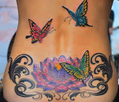 Arabic Lotus Flower Tattoo On Neck Back Photo